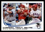 2013 Topps #294   -  Mike Trout / Adrian Beltre / Miguel Cabrera  AL Batting Average Leaders Front Thumbnail