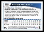 2013 Topps #622  Alcides Escobar  Back Thumbnail