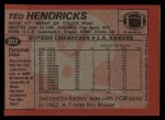 1983 Topps #302  Ted Hendricks  Back Thumbnail
