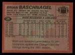 1983 Topps #29  Brian Baschnagel  Back Thumbnail