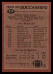 1983 Topps #174   Buccaneers Leaders Back Thumbnail