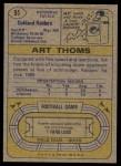 1974 Topps #91  Art Thoms  Back Thumbnail