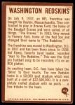 1967 Philadelphia #192   Washington Redskins Logo Back Thumbnail