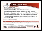 2013 Topps #142  Tony Cingrani   Back Thumbnail