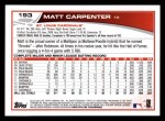 2013 Topps #193  Matt Carpenter   Back Thumbnail