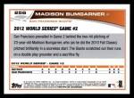2013 Topps #256  Madison Bumgarner   Back Thumbnail