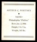 1933 Tattoo Orbit R305 #60  Arthur Whitney   Back Thumbnail