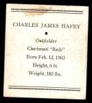 1933 Tattoo Orbit R305 #27  Chick Hafey   Back Thumbnail
