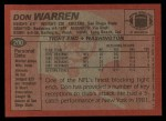 1983 Topps #200  Don Warren  Back Thumbnail