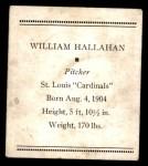 1933 Tattoo Orbit R305  Bill Hallahan   Back Thumbnail