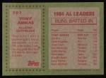 1985 Topps #707  Tony Armas  Back Thumbnail