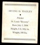 1933 Tattoo Orbit R305 #26  Bump Hadley   Back Thumbnail