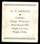 1933 Tattoo Orbit R305  Al Simmons   Back Thumbnail