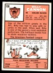 1966 Topps #106  Billy Cannon  Back Thumbnail