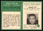 1966 Philadelphia #72  Milt Plum  Back Thumbnail