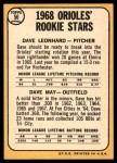 1968 Topps #56   -  Dave May / Dave Leonhard Orioles Rookies Back Thumbnail