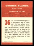 1963 Fleer #36  George Blanda  Back Thumbnail
