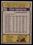 1979 Topps #200  Fran Tarkenton  Back Thumbnail