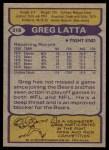 1979 Topps #318  Greg Latta  Back Thumbnail
