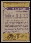 1979 Topps #34  Pete Johnson  Back Thumbnail