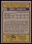 1979 Topps #44  Sidney Thornton  Back Thumbnail