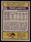 1979 Topps #496  Frank LeMaster  Back Thumbnail