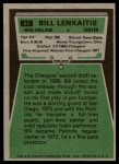 1975 Topps #61  Bill Lenkaitis  Back Thumbnail