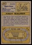 1974 Topps #212  Andy Maurer  Back Thumbnail