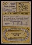 1974 Topps #218  Buck Buchanan  Back Thumbnail
