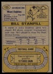 1974 Topps #133   -  Bill Stanfill All-Pro Back Thumbnail