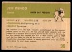 1961 Fleer #96  Jim Ringo  Back Thumbnail