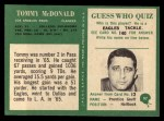 1966 Philadelphia #97  Tommy McDonald  Back Thumbnail