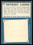 1961 Topps #37   Lions Team Back Thumbnail