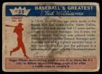 1959 Fleer #35   -  Ted Williams  Sox Miss Pennant Back Thumbnail