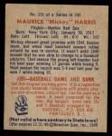 1949 Bowman #151  Mickey Harris  Back Thumbnail