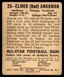 1948 Leaf #25 BNOF Bud Angsman  Back Thumbnail