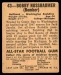 1948 Leaf #43 MAR Robert Nussbaumer  Back Thumbnail