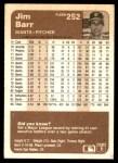1983 Fleer #252  Jim Barr  Back Thumbnail