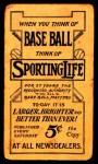 1910 M116 Sporting Life  Dick Hoblitzel  Back Thumbnail