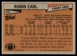 1981 Topps #501  Robin Earl  Back Thumbnail