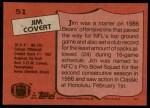 1987 Topps #51  Jim Covert  Back Thumbnail