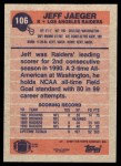 1991 Topps #106  Jeff Jaeger  Back Thumbnail