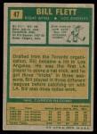 1971 Topps #47  Bill Flett  Back Thumbnail