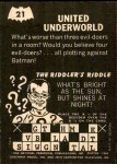 1966 Topps Batman -  Riddler Back #21   United Underworld Back Thumbnail
