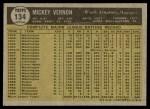 1961 Topps #134  Mickey Vernon  Back Thumbnail