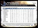 2016 Topps #438  Paulo Orlando  Back Thumbnail
