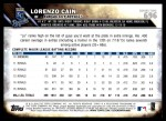 2016 Topps #696 A Lorenzo Cain  Back Thumbnail