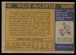 1971 Topps #101  Willie McCarter  Back Thumbnail