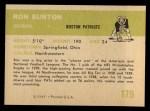 1961 Fleer #179  Ron Burton  Back Thumbnail