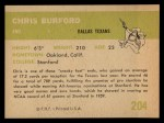 1961 Fleer #204  Chris Buford  Back Thumbnail